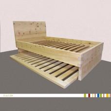 Zirm Bett mit ausziehbarem Zusatzbett