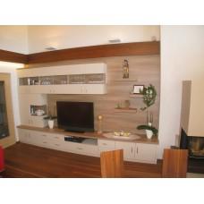 Mobilie soggiorno combinazione nobilitato bianco e rovere